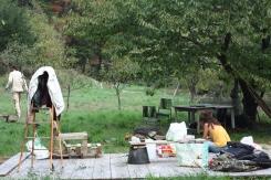 Barbecue hivernal sur le terrain du frangin.